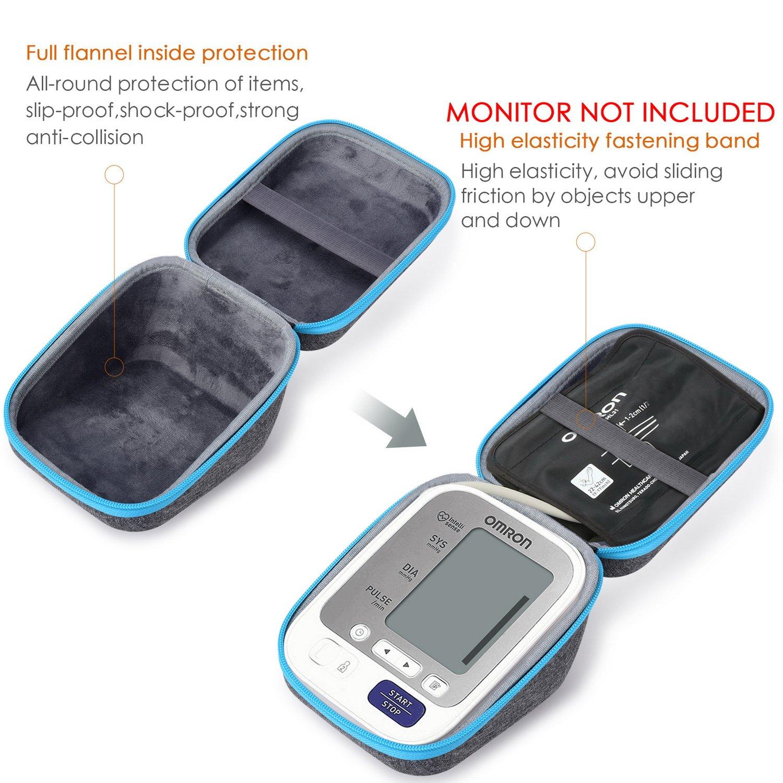 SKYNEW - Funda de protección de viaje compatible con Omron BP742N 5 brazos monitor de presión arterial, compatible con USB y cargador, ...