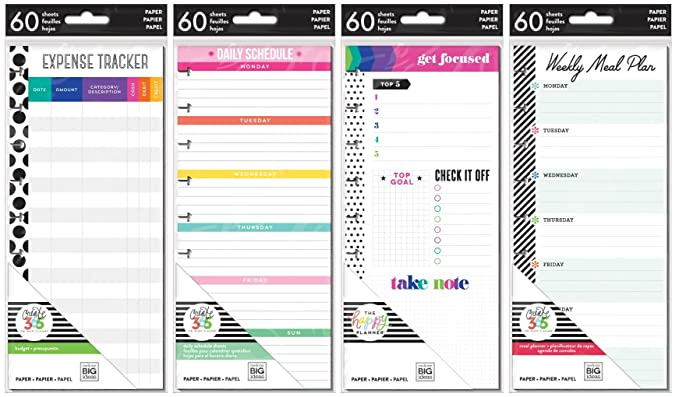 Happy Planner Classic Planner Half Sheets - Meal Planning, Budget, Focus and Daily Schedule - 4 Item MAMBI Bundle