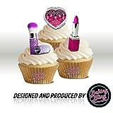 NOVELTY BLING maquillage MIX de boules BIRTHDAY FUN-cupcakes comestibles en support de 12 décorations de gâteaux en Papier de riz comestible pour gâteaux - 2 x 12 images A5