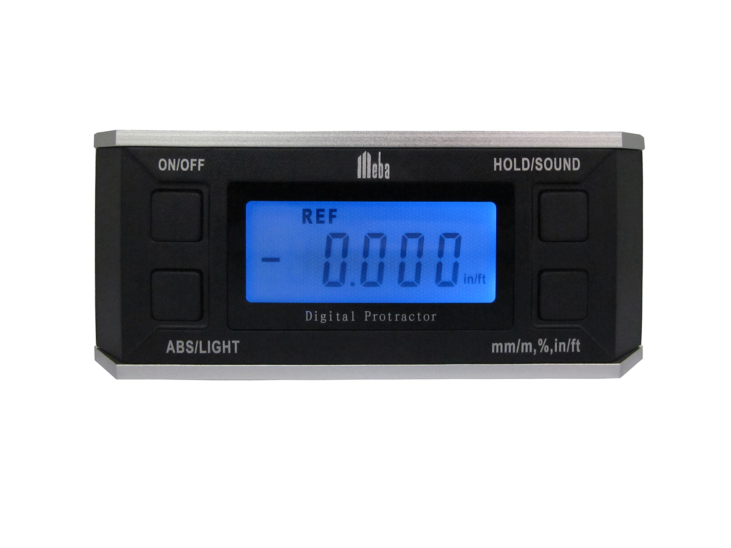 Meba Digital Protractor Angle Finder Level Inclinometer Magnetic V-groove 0~360 Degree with Backlight