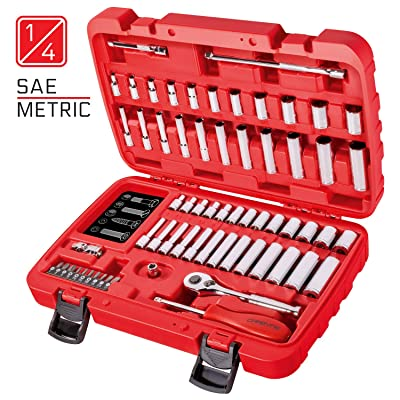 CARBYNE 65 Piece Socket Set | SAE & Metric, Chrome Vanadium Steel, 6 Point | 1/4-inch Drive