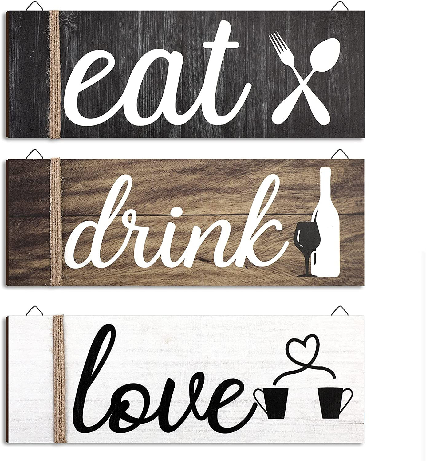Jetec 3 Pieces Wood Home Sign Rustic Wooden Kitchen Wall Decor Eat Drink Love Wood Sign with Hanging Hole for Home Kitchen Dining Living Room Bar Cafe Decoration (Classic Color)