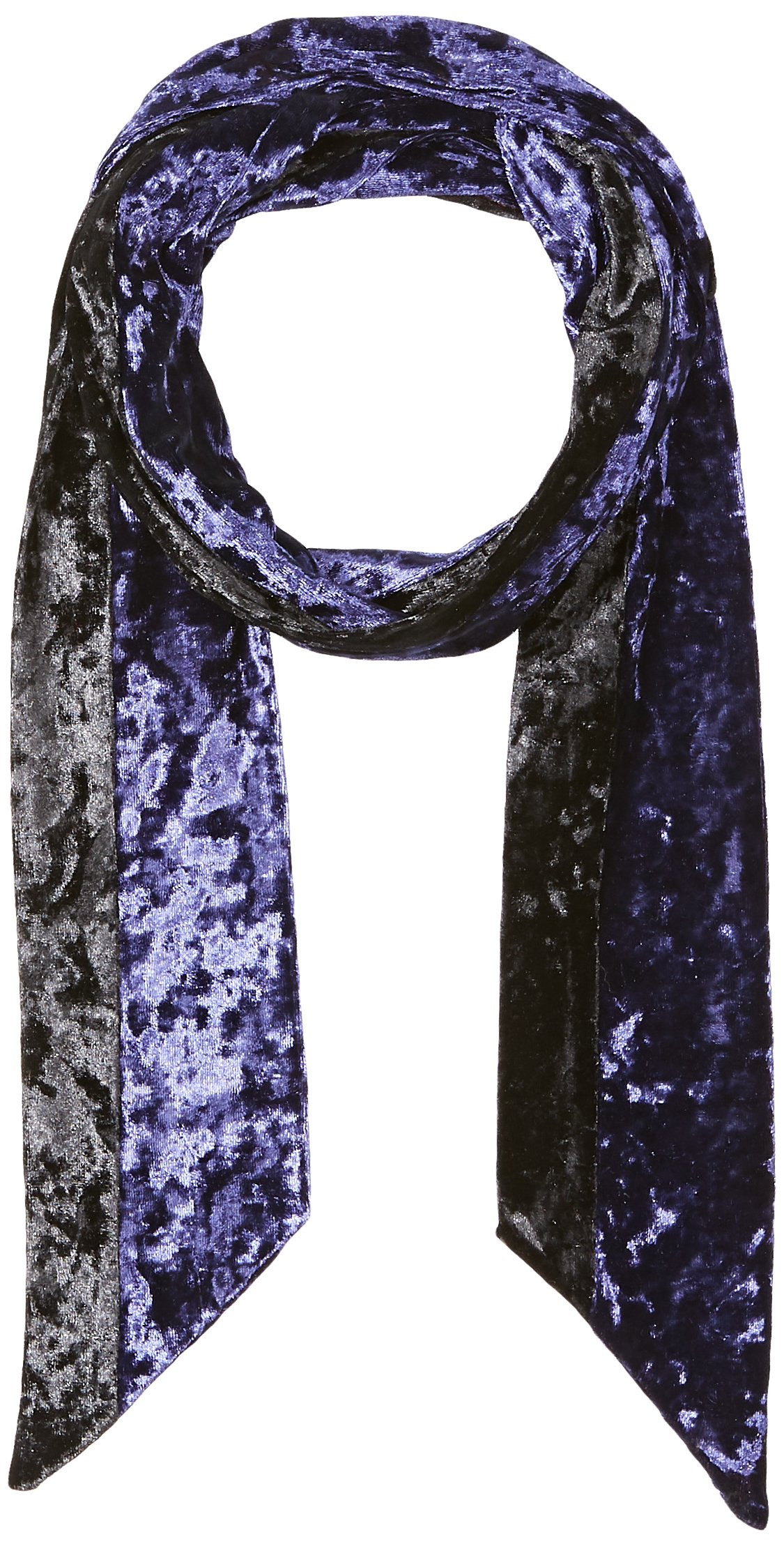 Orchid Row Women's Fashion Velvet Skinny Scarf Navy/Black O/S