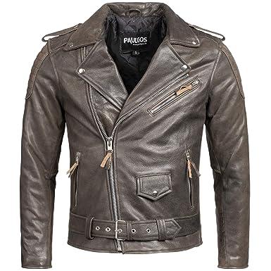 6455c695b7bc71 PAULGOS Herren Biker Lederjacke Echtes Leder Jacke Echtleder in 3 Farben Gr.  S-5XL