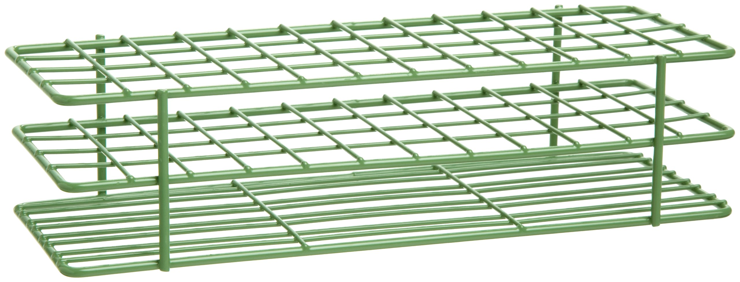 Bel-Art F18755-0000 Poxygrid Test Tube Rack; 13-16mm, 48 Places, 9¹/₂ x 3⁵/₈ x 2¹/₂ in., Green