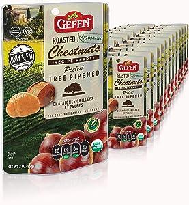 Gefen Organic Whole Roasted & Peeled Chestnuts, 3OZ (24 Pack)