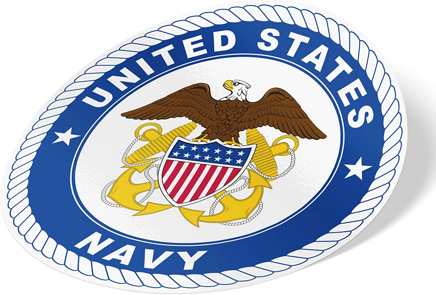US Navy Emblem Logo Vinyl Decal Laptop Water Bottle Car Scrapbook Officially Licensed United States (Sticker - Double Anchor Seal)