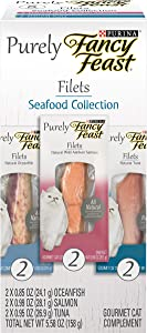 Purina Fancy Feast Natural, Grain Free Wet Cat Complement Variety Pack, Purely Filets Oceanfish, Tuna & Salmon - 6 ct. Box