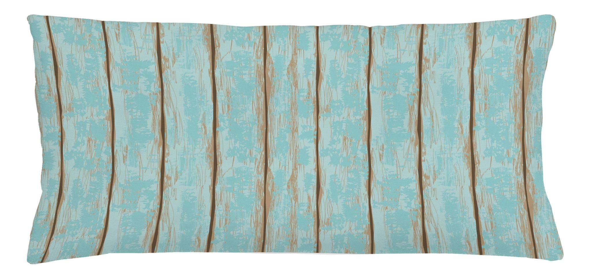 Lunarable Wood Print Throw Pillow Cushion Cover, Old Fashioned Weathered Rustic Planks Summer Cottage Beach Coastal Theme, Decorative Square Accent Pillow Case, 36 X 16 Inches, Pale Blue Tan