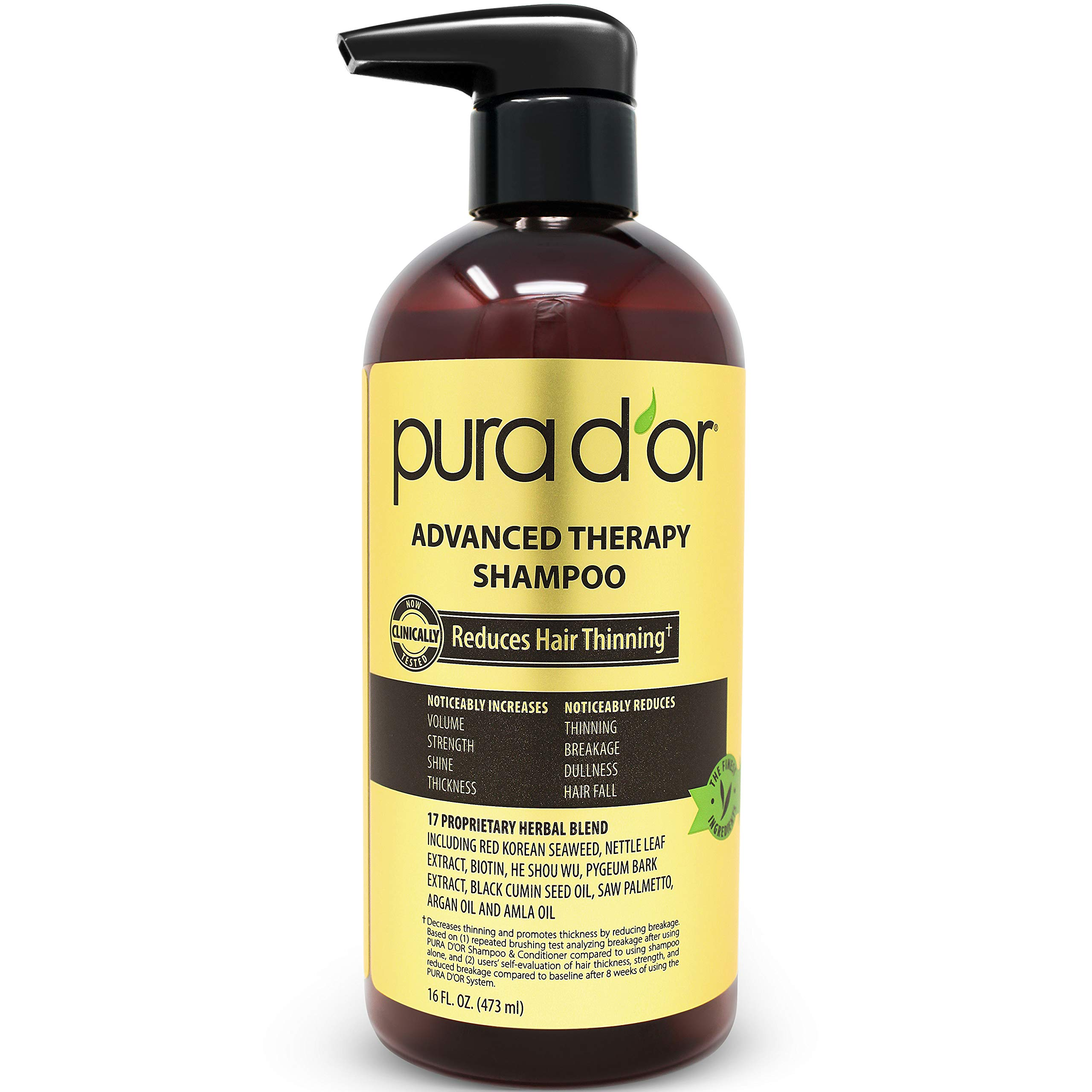 PURA D'OR Advanced Therapy Shampoo Reduces Hair Thinning & Increases Volume, Sulfate Free, Biotin Shampoo Infused with Argan Oil, Aloe Vera for All Hair Types, Men & Women,16 Fl Oz by PURA D'OR