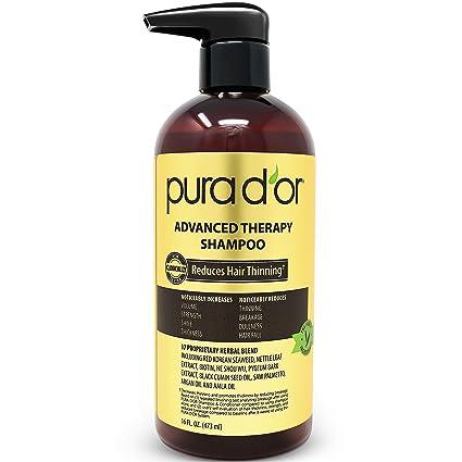 Pura DOr Terapia avanzada champú reduce el adelgazamiento del cabello y aumentar el volumen, una infusión de prima orgánica de aceite de argán y aloe ...