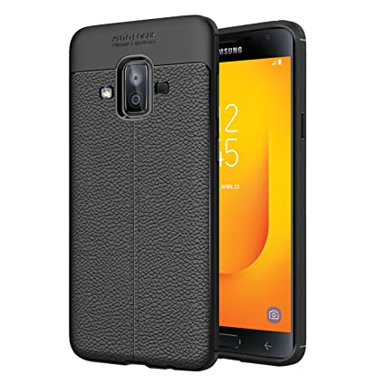 44c719e29a8 Image Unavailable. Image not available for. Colour  Hupshy Soft Silicone  TPU LeatherTexture Flexible Back Cover for Samsung Galaxy J7 Duos 2018(Black
