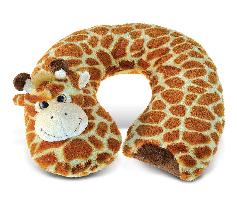 Puzzled Giraffe Super-Soft Stuffed Plush Travel Neck Pillow Cuddly Animal - Animals / Wild Animals / Zoo Animals Theme - 11 INCH - Great head Support - Item #5796
