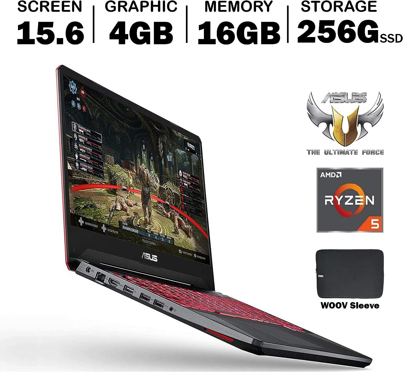 ASUS TUF FX505DT 15.6 Inch Full HD IPS Gaming Laptop, GeForce GTX 1650 4GB, AMD Ryzen 5 R5-3550H (Beat i7-7700HQ), 16GB DDR4, 256GB PCIe SSD, RGB Backlit Keyboard, Windows 10, Woov Sleeve