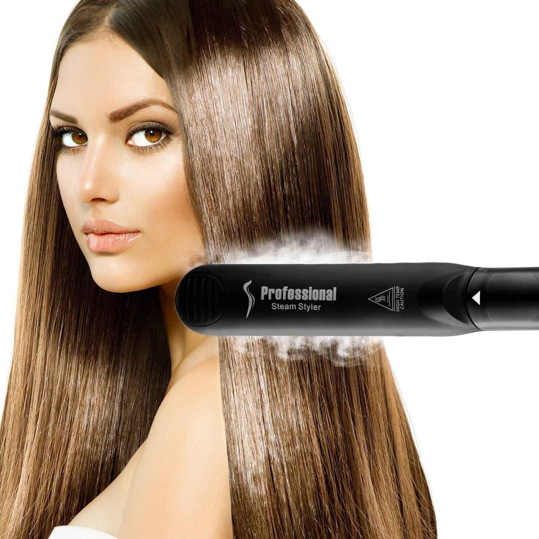 Steam Straighteners for Hair, Professional Salon Ceramic Tourmaline Vapor Steam Flat Iron Hair Straightener, Dual Voltage 2 in 1 Straightening Curling, LED Display with Adjustable Temp. by DORISILK (Image #3)
