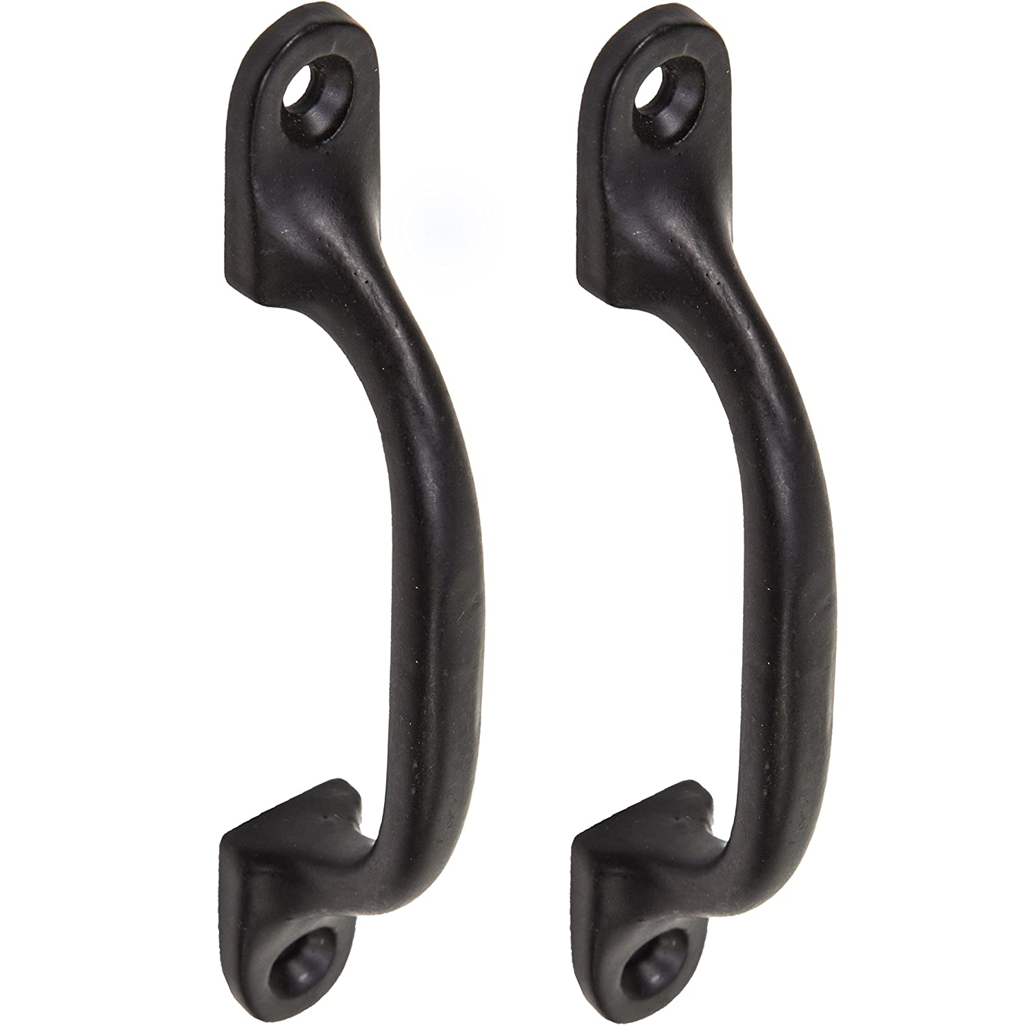 2x Quality Black Cast Iron 4'Pull Handles | Ideal For Kitchen Cabinets, Cupboards & Drawers White Hinge