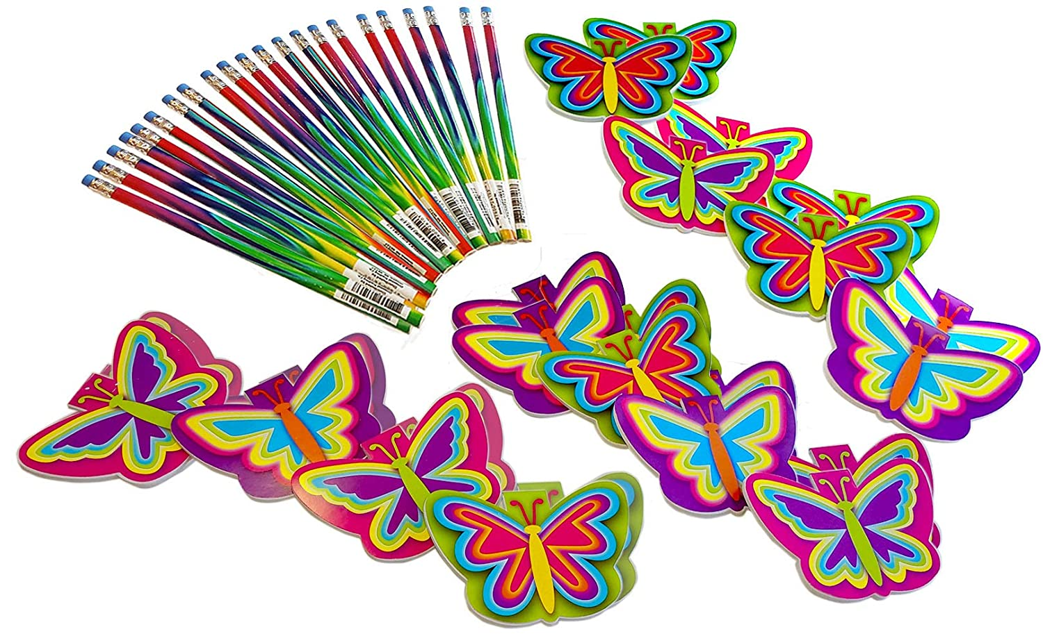 Set for 12 Kids 4-13 Wiser Road Fly High Butterfly Notepads and Pencils Stationary Bundle Inspiring Creativity and Writing Set for 12 Kids 24 Piece Bundle