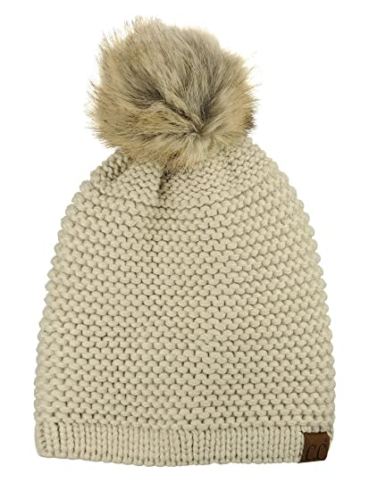 76fbd711f24 C.C Horizontal Knit Faux Fur Pom Back Drawstring Slouch Beanie Hat ...