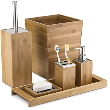 Home Basics Natural Bamboo Bathroom Accessory Sets - Includes Lotion/Soap Dispenser, Toothbrush Holder, Soap Dish/Holder, Vanity Tray, Waste Bin, and Toilet Brush and Holder (6 Piece Set)