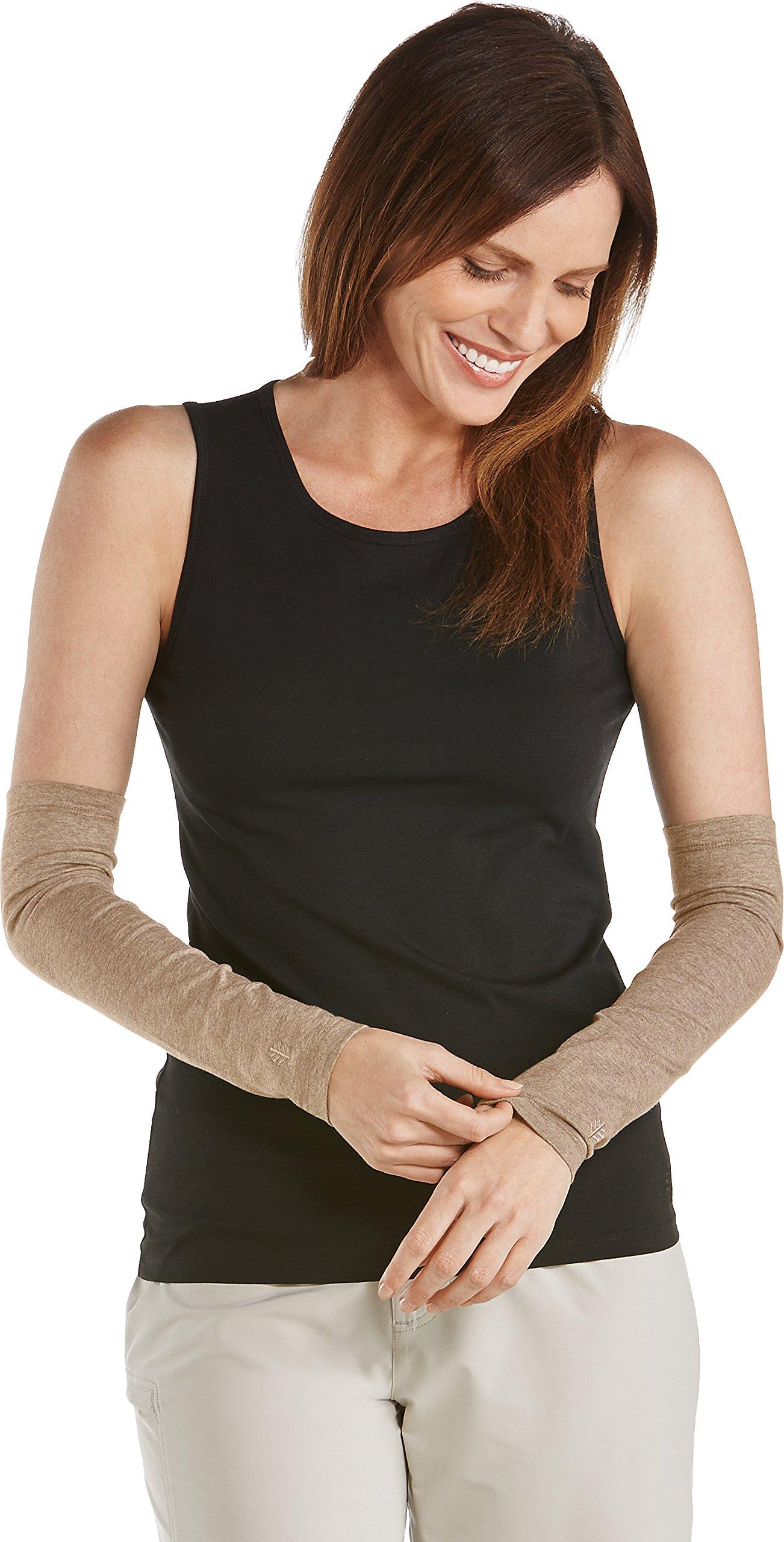 Coolibar UPF 50+ Women's Sun Sleeves - Sun Protective (Large/X-Large- Dark Taupe Heather)