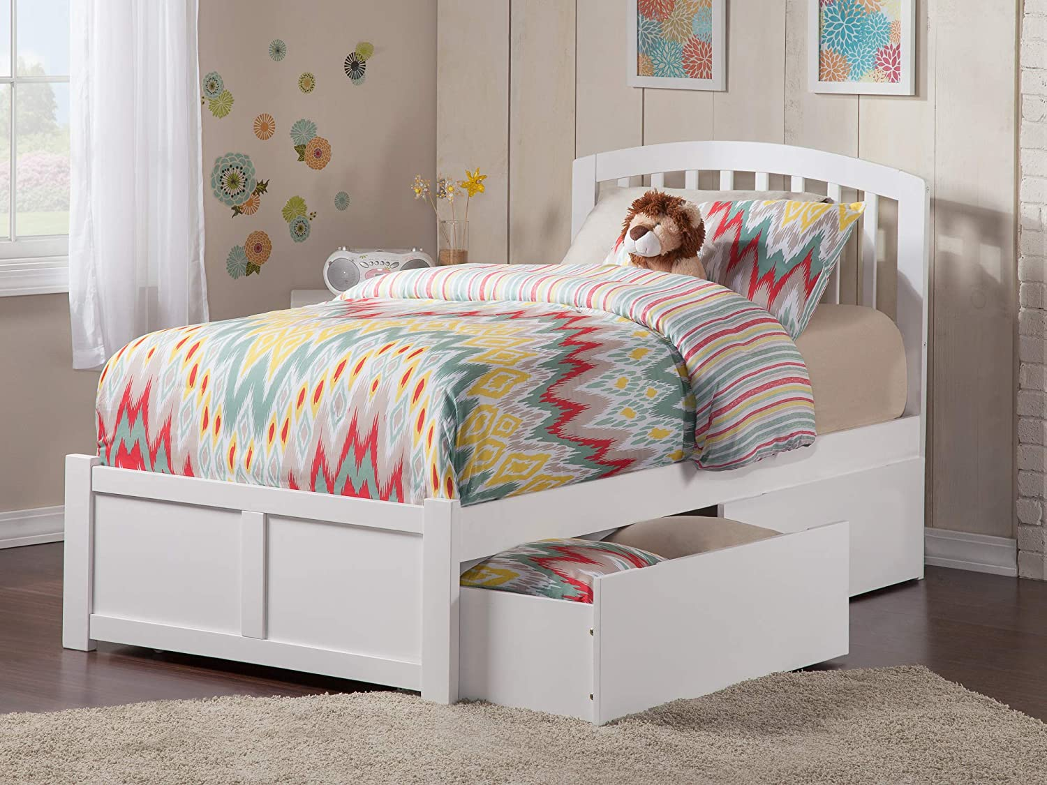 Amazon.com: Atlantic Furniture AR8822112 Bed Twin White: Kitchen & Dining