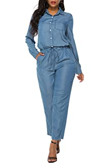 Amazon.com: LOWLA Denim Jumpsuit Romper for Women ...