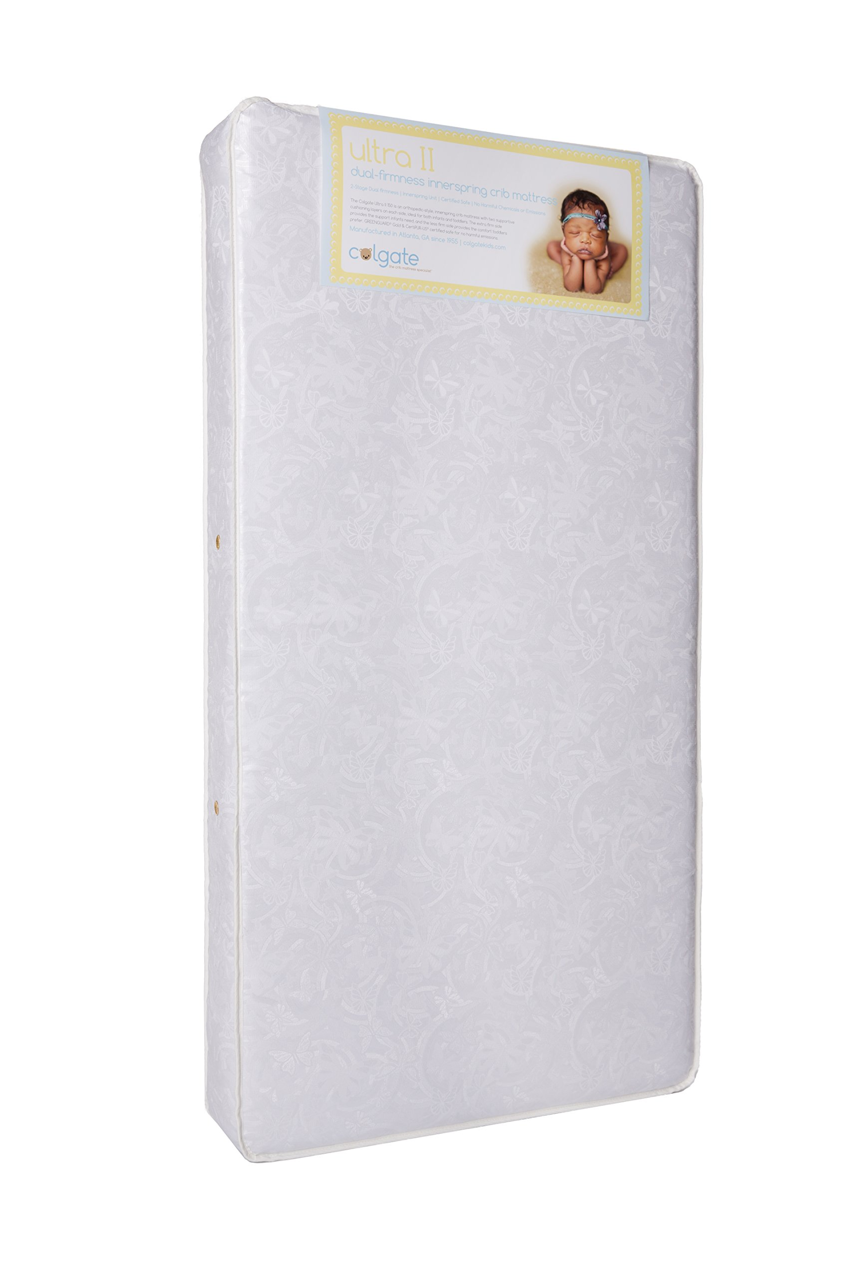 Colgate Ultra II Crib and Toddler Innerspring Mattress   51.6''L x 27.2''W x 6''H   Orthopedic   Triple-Layered, Tear-Resistant Cover  Rectangle with Rounded Corners Crib Mattress   Made in the USA