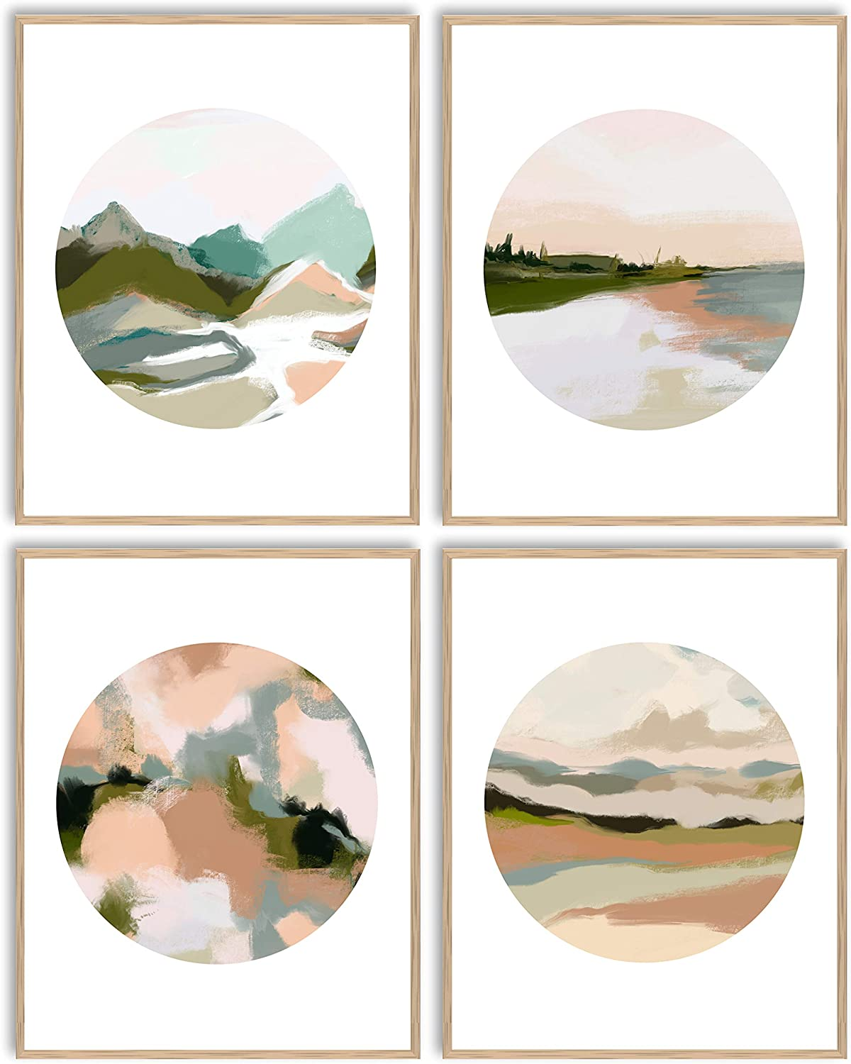 Printsmo Neutral Earthtones Landscape Art Print Set of 4, Modern Abstract and Minimalist Art Prints for Home Decor, Boho Style Wall Art Poster Set, 11x14 Inches Each, Unframed