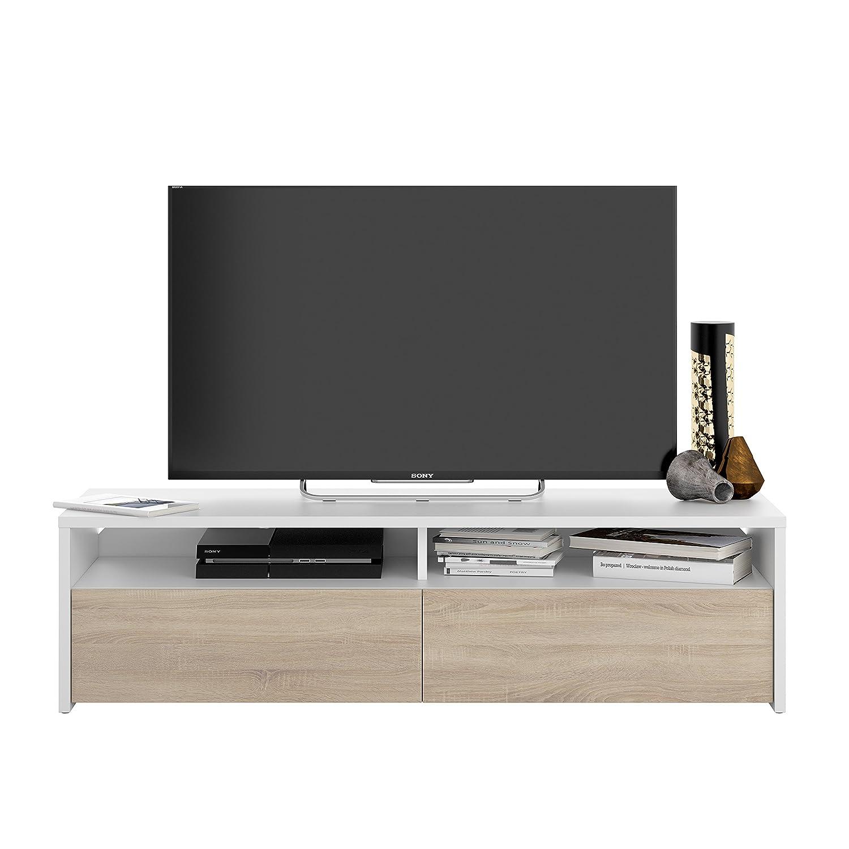 Kioto Meuble Tv Contemporain Blanc Et D Cor Chene L 130 Cm  # Meuble Tv Blanc Maison Du Monde
