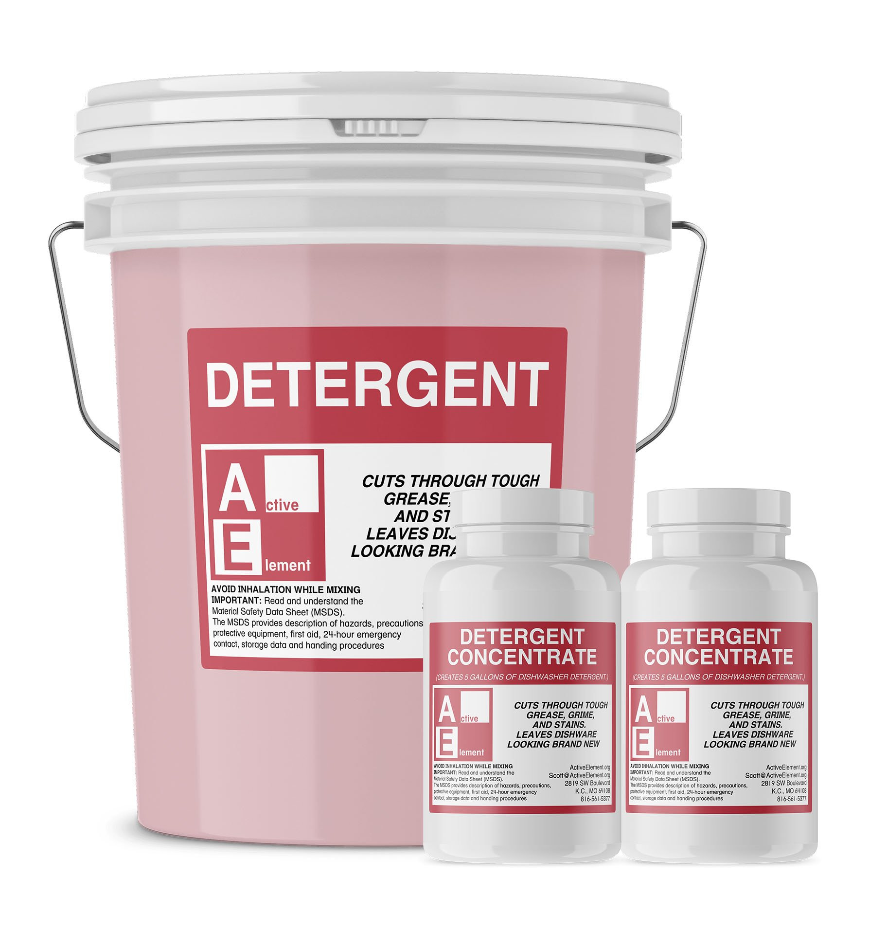 Commercial Dishwasher Detergent, Makes twelve 5-gallon pails, (12/case) by Active Element