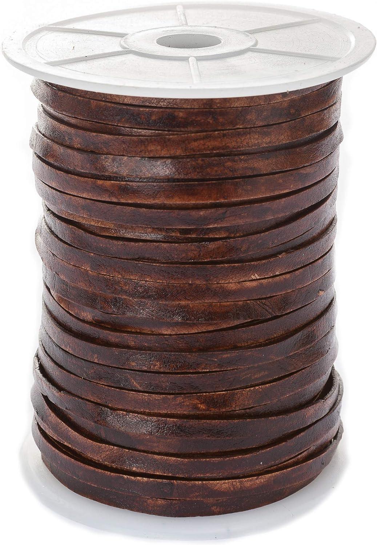 Banda de cuero plana, 5mm x 1,5mm,color/longitud: a elegir.