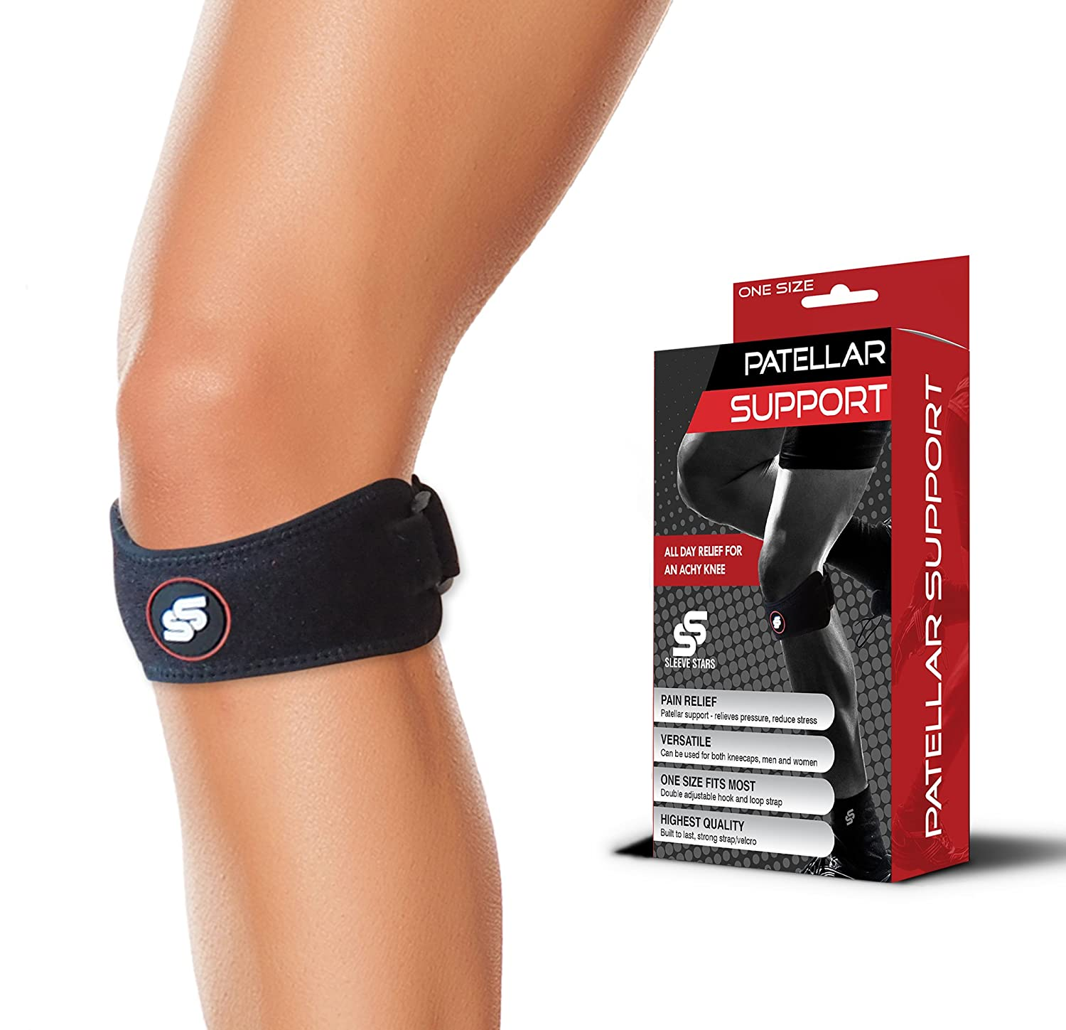 c21073633a Amazon.com: Patella Strap for Knee Pain Relief - Knee Support for  Arthritis, Osgood Schlatter, Runners Knee, Jumpers Knee, Tendonitis &  Volleyball: Sports & ...