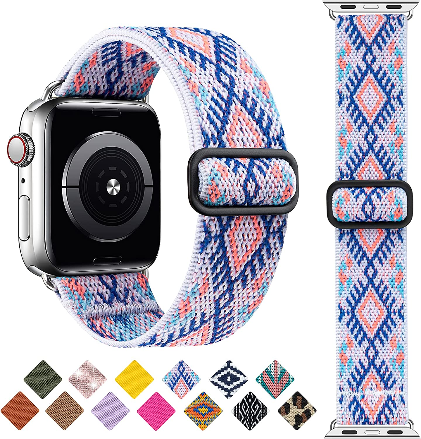 Greatfine Stretchy Solo Loop Strap Compatible with Apple Watch Bands 38mm 40mm,Elastic Nylon Braided Band&Adjustable Buckle Women Men Sport Watch Bands for iWatch Series 6/5/4/3/2/1 SE(Purple-38/40)