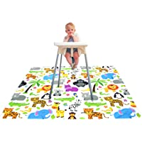 Paw Legend Washable Highchair Splat Floor Mat- Anti-Slip Silicone Spot Splash Mess Mat(130cm X 130cm)-Food Catcher Art Craft Leak Proof Mat,Animal