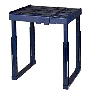 "Tools for School Locker Shelf. Adjustable Width 8"" - 12 1/2"" and Height 9 3/4"" - 14"". Stackable and Heavy Duty. Holds 40 lbs. per Shelf. (Blue, Single)"