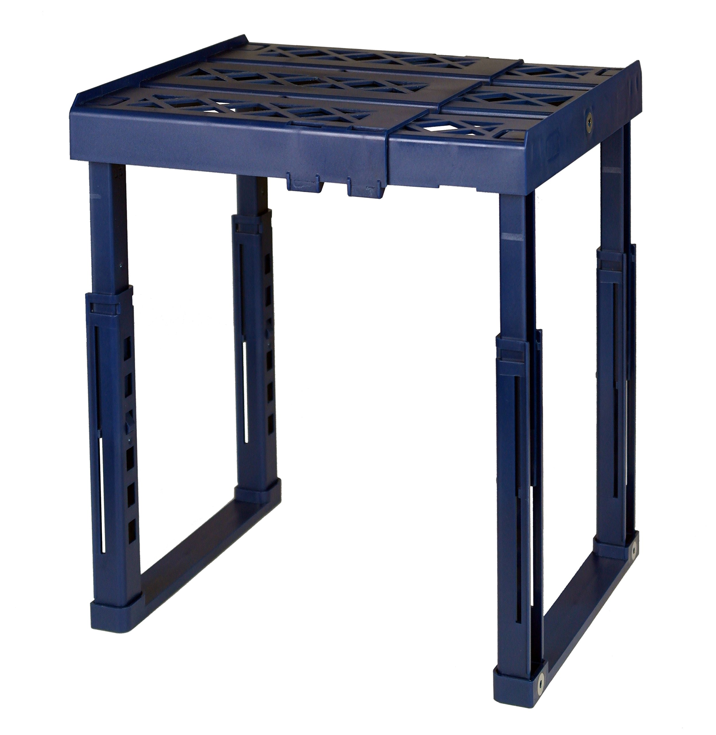 Tools for School Locker Shelf. Adjustable Height and Width. Stackable and Heavy Duty. Holds 40 lbs. per Shelf (Single, Blue)