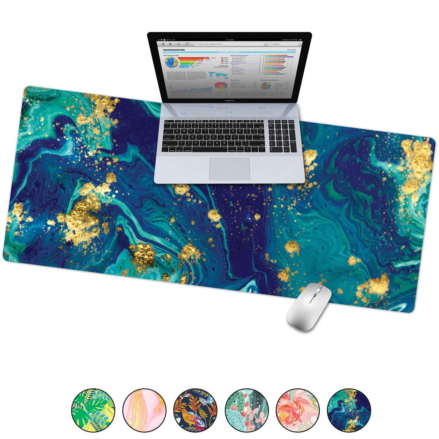 "French Koko Large Desk Mouse Pad Desktop Mat, Home Office School Cute Decor Extended Laptop Big Writing Blotter Protector Computer Accessories Pretty Mousepad Women 31""x15"" (Teal & Gold Marble-lous)"