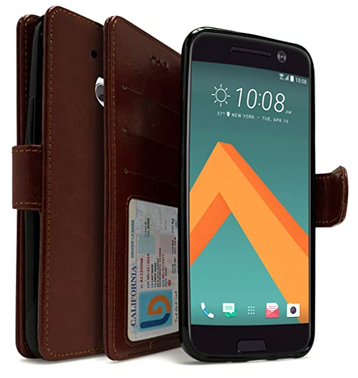 in stock b8024 8d05c HTC 10 Wallet Case, Bastex Luxury Brown PU Leather Case Flip Cover with  Card Slots & Stand for HTC 10 HTC M10 HTC One M10