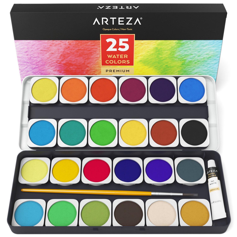 Set Acquerelli Professionali Arteza, 25 Colori Vivaci in Pastiglie, Pennello per Acquarelli Incluso