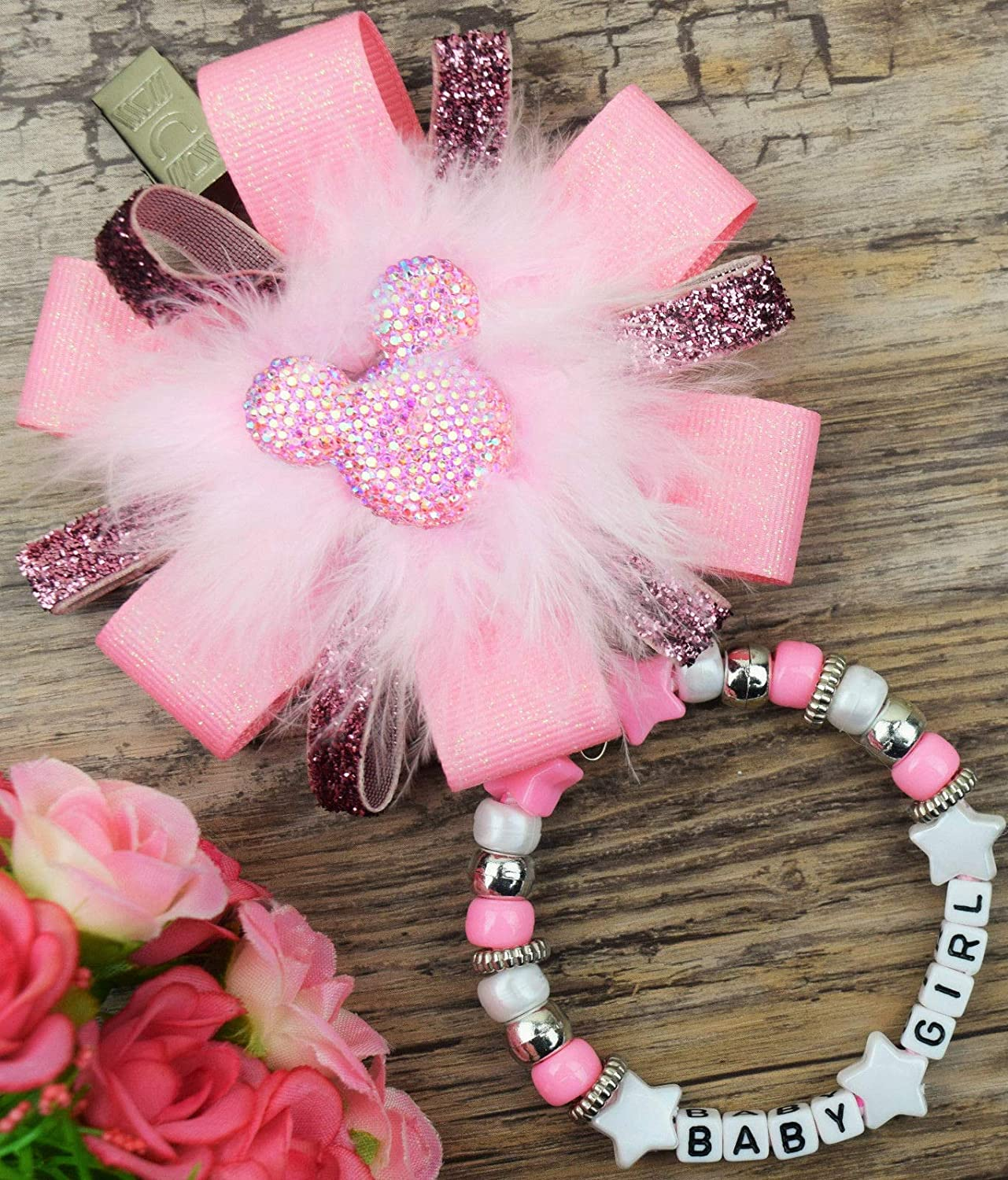 Personalised stunning pram charm  for baby girls boys ideal gift  pink and white