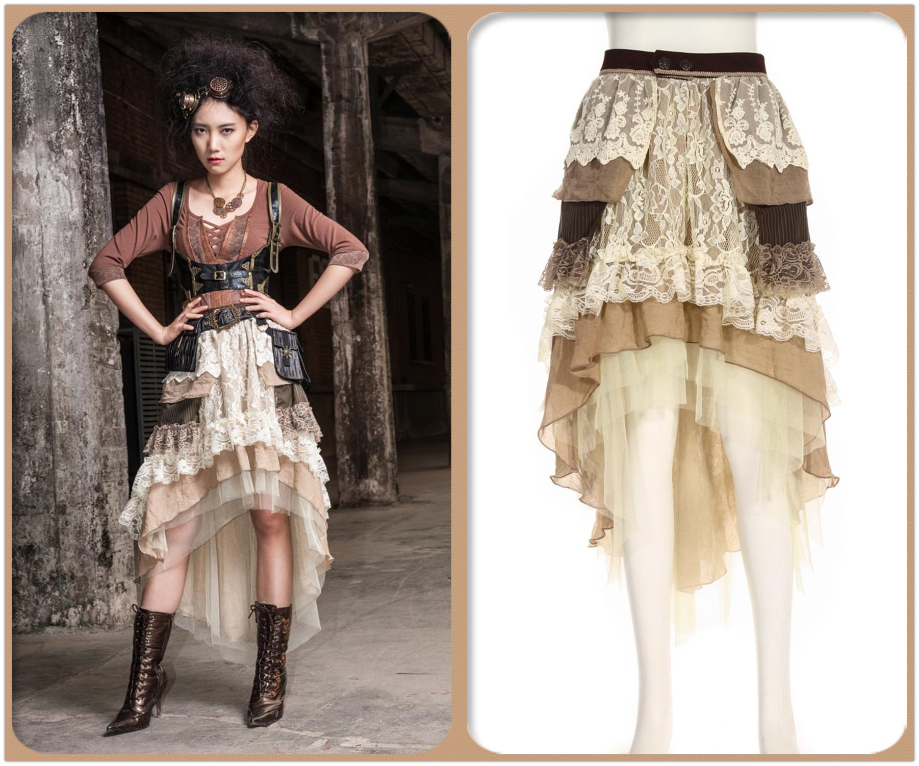 Steampunk Victorian Gothic Sexy Prom Dresses Homecoming Dresses Wedding Dresses Beige 4