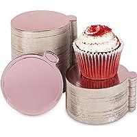 Mini tableros redondos para tartas, base de postre de aluminio de oro rosa (3.5 pulgadas, 200 unidades)
