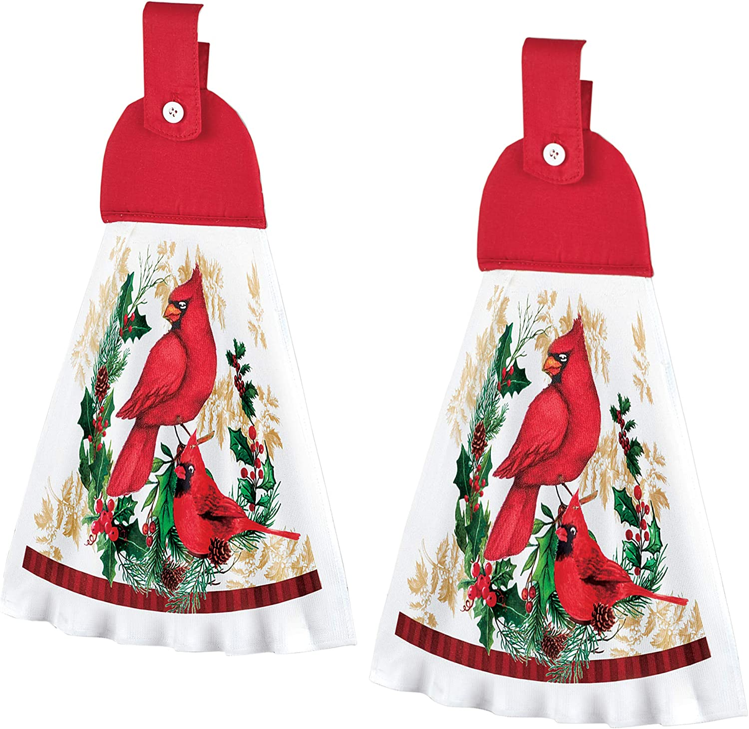 Collections Etc Printed Holiday Cardinal Kitchen Towels Set of 2