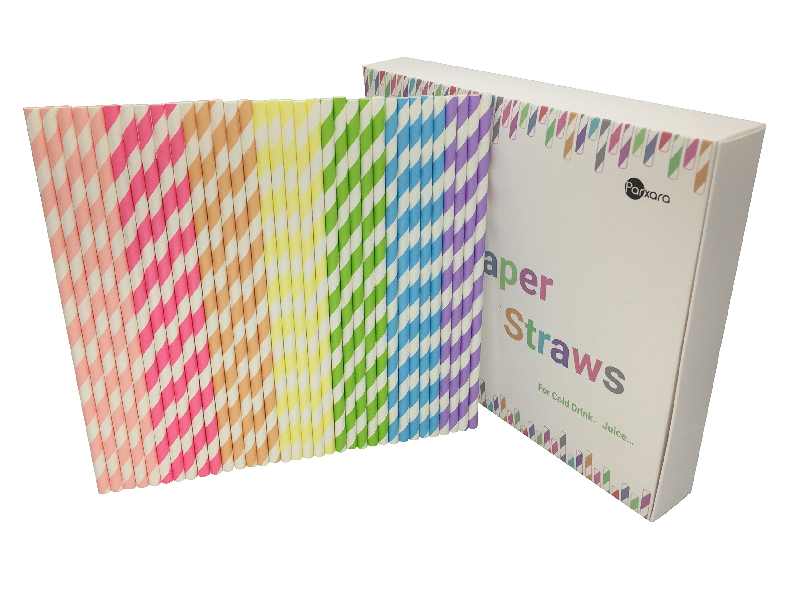 Parxara Straws Paper with Recycable Packaging Bulk 175Pcs Drinking Straws Decorations for Party Birthday Wedding Baby Shower Valentine in 7 Multi-Color Rainbow (Multicolor 2)