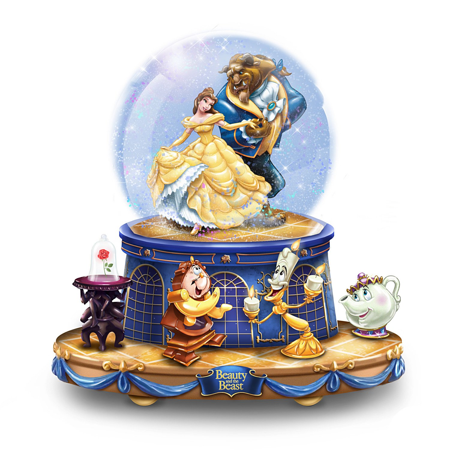 Disney Beauty And The Beast Musical Glitter Globe With Rotating Characters by The Bradford Exchange