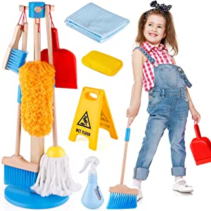 Wooden Detachable Kids Cleaning Toy Set, Pretend Play Household Cleaning Tools Includes Broom, Mop, Duster, Brush, Squirt Bottle and Hanging Stand Play, Housekeeping Toys for Toddlers Girls & Boys