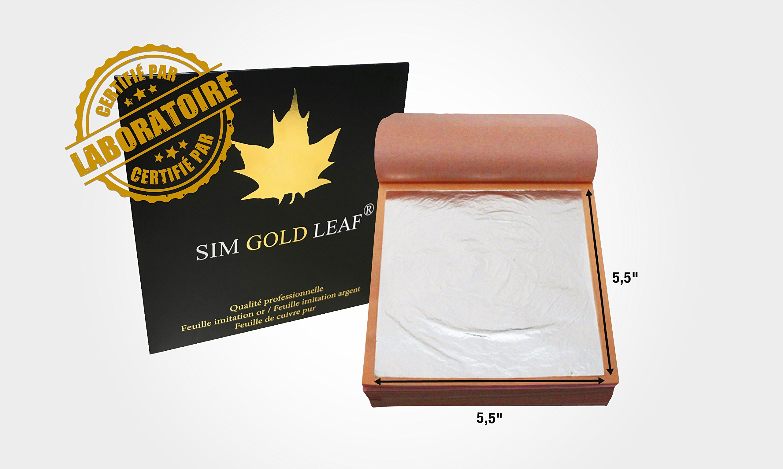 Professional Quality Imitation Silver (Aluminum) Leaf Sheets, 25 Sheets, 5.5 inches Booklet