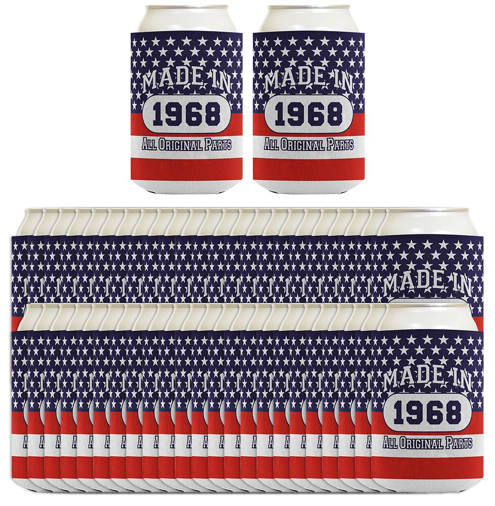 50th Birthday Gift Coolie Made 1968 Can Coolies 96 Pack Can Coolie Drink Coolers Coolies Patriotic