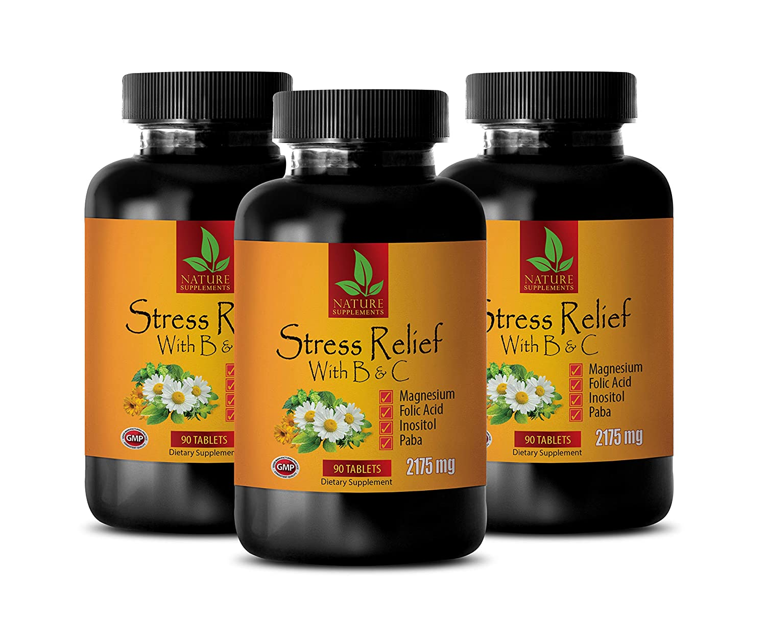 Depression Vitamins Women - Stress Relief with B & C 2175 MG - Dietary Supplement - Valerian Root Herbal Supplement - 3 Bottles 270 Coated Tablets
