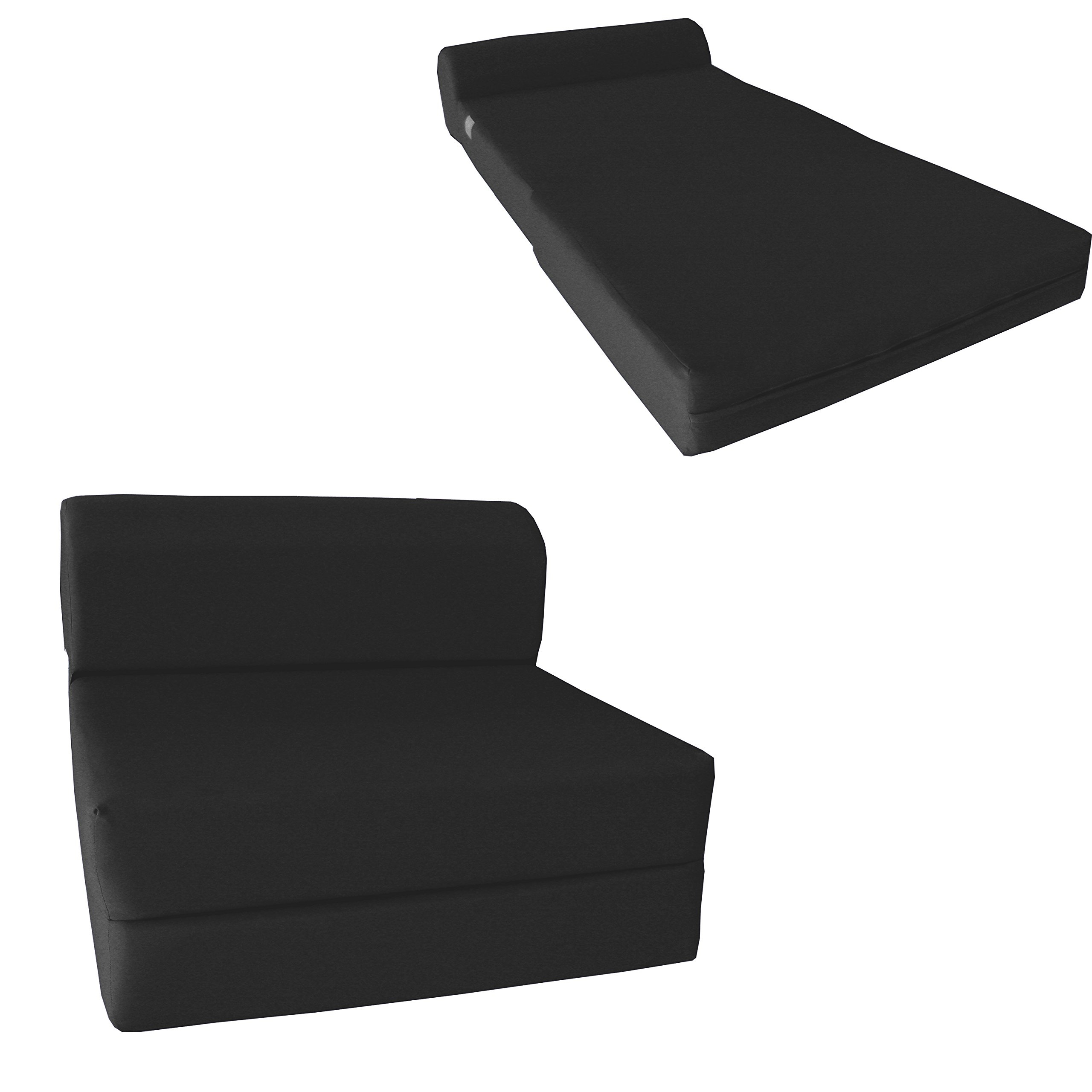 D&D Futon Furniture Chair Folding Foam Bed, Studio Sofa Guest Folded Foam Mattress (6'' x 48'' x 72'', Black) by D&D Futon Furniture.